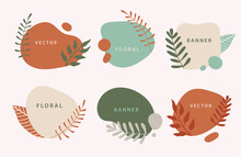 Vector Set Of Liquid Organic Forms And Badges Set With Plants, Leaves. Flowing Shapes Banners. Template For Logo, Branding, Web Design, Social Media Post, Business Card, Invitation, Print