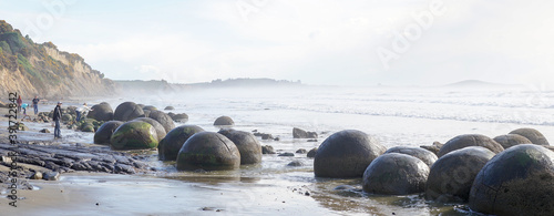 Spherical Rock Moeraki Boulders located at Koekohe Beach on the South Island of New Zealand Wallpaper Mural