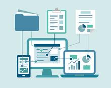 デジタル化のイラスト/クラウド/アイコン/ビジネス/IT/PC/データ/共有/バックアップ/情報