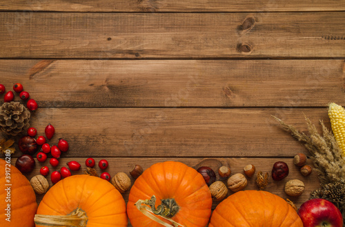 Fototapeta Pumpkins, rosehips, nuts, cone and corn on the cob. Autumn flat lay composition, with copy space on wooden background. obraz na płótnie
