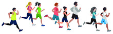 Running People Flat Vector Illustration. Runners, Athletes, Sportive Men And Women . Marathon, Exercise And Athletics. Isolated Design Element