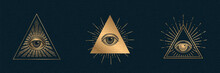 All Seeing Eye Vector, Illuminati Symbol In Triangle With Light Ray, Tattoo Design Isolated On Black Background