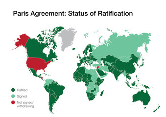 World map with the countries that have signed, ratified or withdrawn from the Paris climate agreement