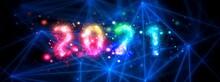 光輝く星で形成された2021の数字