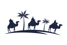 Wise Men Group In Camels And Palms Mangers Characters Silhouette