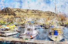 Painting Of Puerto De Morgan At Gran Canaria Island. Spain.