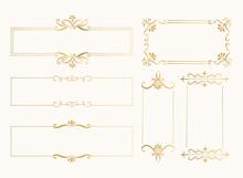 Set Of Golden Rectangular Fram...