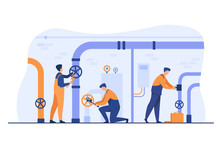 Handymen Working In Team And Fixing Leakage In Boiler Room Flat Vector Illustration. Cartoon Plumbers Repairing Pipes With Tools. Flight Crew And Aircraft Concept