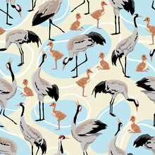 Seamless Pattern Common Crane ...