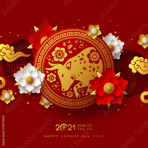Obraz Chinese new year 2021, year of the ox. Red bull character in circle frame, flower, chinese clouds and hieroglyphs, zodiac sign. Translation Happy New Year. Vector illustration. - fototapety do salonu