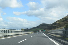 Highway Road Under A Cloudy Sky, Calabria, Italy