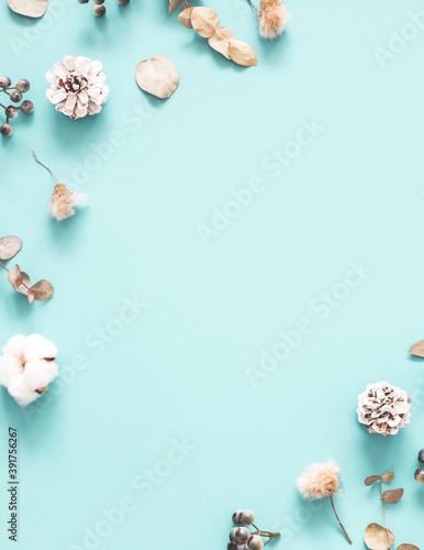 Winter composition. Dried leaves, cotton flowers, berries, pine cones on mint background. Autumn, fall, winter concept. Flat lay, top view