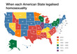USA map showing when each American state legalised homosexuality