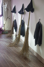 Halloween Photo With Witch Hat And Clothes With Broom.