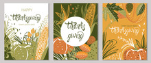 Set Of Autumnal Cards With Corn, Pumpkins, Leaves And Twigs. Happy Thanksgiving. Place For Text