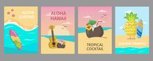 Colorful Hawaiian Posters Design With Sea Beach. Vivid Bright Tropical Elements And Fruit Characters. Hawaii Vacation And Summer Concept. Template For Promotional Leaflet Or Flyer