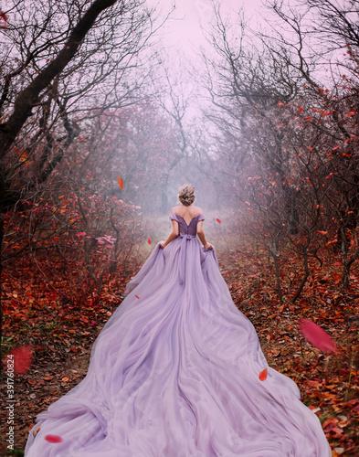 Fotografia Art fantasy beautiful woman queen walk in autumn mystic forest, orange leaves bare trees