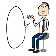 A Young Businessman Who Is Sitting On A Round Chair And Introducing