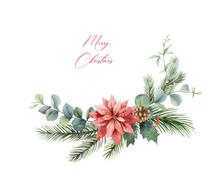 Watercolor Vector Christmas Wreath With Fir Branches, Poinsettia And Eucalyptus.