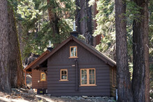 Wooden Cabin In Pine Tree Forest At Yosemite National Park - USA - Take A Rest And Travel Camping Concept