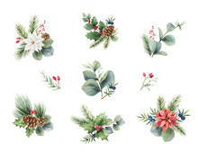 Watercolor Vector Christmas Set Of Bouquets.