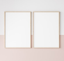 Two Wooden Frames On Pink And White Wall, Frame Mockup, 3d Render