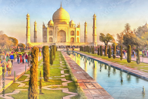 Fotografering Colorful painting of Taj Mahal at sunrise