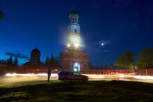 Noul Neamt Orthodox Monastery In Village Chitcani From Moldova. Medieval Church And Chapel In The Easter Night.