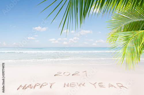 View of nice Christmas and new year theme tropical beach Wallpaper Mural