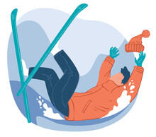 Skier Falling Down, Practicing In Skiing Sports