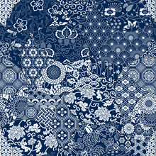 Japanese Traditional Fabric Patchwork Wallpaper  Abstract Floral Vector  Seamless Pattern