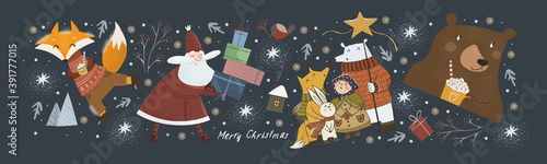 Obraz Happy New Year and Merry Christmas! Vector cute illustration of cheerful Santa Claus with gifts in winter, fox on skates. bear with a drink, animals welcoming the holiday. Drawings for greeting card  - fototapety do salonu