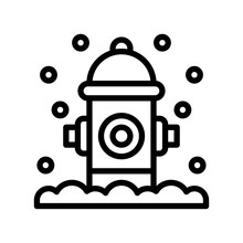 Snow Town In Winter Related Fire Hydrant And Ice Vectors In Lineal Style,