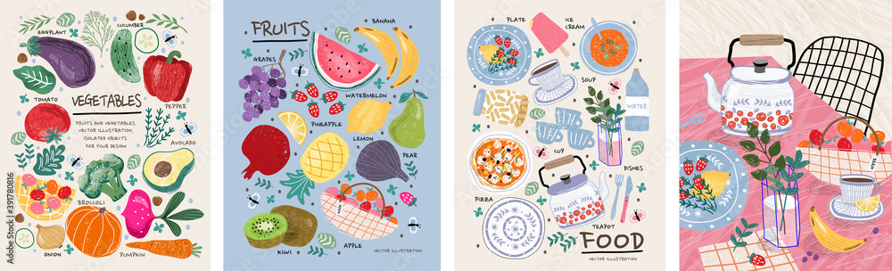 Fototapeta Food, vegetables and fruits. Vector illustrations: dishes, kiwi, broccoli, pumpkin, eggplant, avocado, pear, tomato, teapot, still life on the table, etc. Drawings for poster, card or background