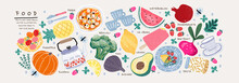 Food. Vector Illustration: Pumpkin, Rosemary, Apple, Basket, Teapot, Pineapple, Broccoli, Lemon, Avocado, Plate, Watermelon, Beet, Strawberry, Pomegranate, Beetroot, Cup, Pasta