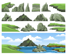 Set Of Sea Landscape Elements. Mountains, Rocks, Cliffs, Stones And Blue Sky With Clouds. Colorful Panoramic Scenery. Vector Illustration.