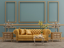 Modern Classic Blue And Yellow Interior With Yellow Leather Sofa,table,lamp,wood Floor,mouldings.3d Rendering