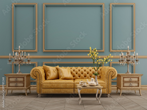 Fototapeta Modern classic blue and yellow interior with yellow leather sofa,table,lamp,wood floor,mouldings.3d rendering obraz