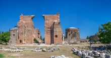 Red Basilica In The Pergamon Ancient City, Turkey