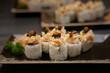 Japanese hoso maki sushi on plate