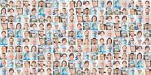 Panorama Collage Arzt Und Intensivmedizin Team