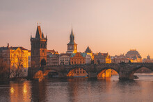 Prague, Charles Bridge With Vl...