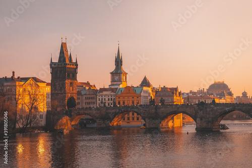Fototapeta Prague, Charles Bridge with Vltava river at sunset
