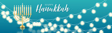 Happy Hanukkah. Traditional Jewish Holiday. Chankkah Banner Or Website Header Background Design Concept. Judaic Religion Decor With Menorah, Candles, David Star. Vector Illustration.