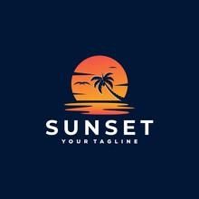 Sunset Ocean Gradient Logo Design