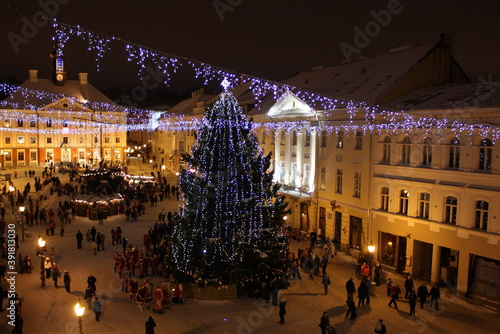 christmas tree at town hall square in Tartu Estonia Fototapet