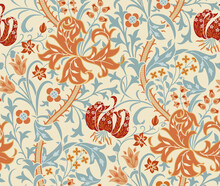 Vintage Floral Seamless Pattern With Big Flowers, Lily And Foliage On Light Background. Vector Illustration.