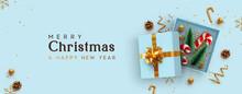 Christmas Blue Open Gift Box T...