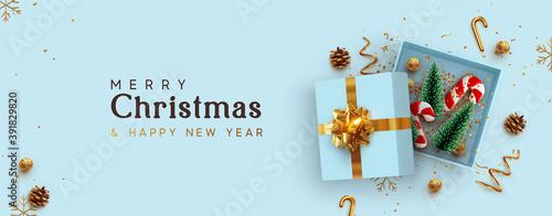 Fotografiet Christmas blue Open gift box template