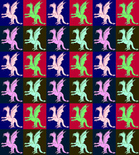 Decorative Pattern With Digital Dragons In A Op Art Style And Andy Warhol